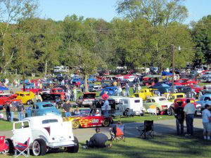 car show with rows of classic cars
