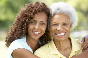 Senior woman and adult daughter