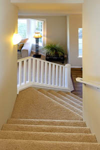 Stairway With White Railings