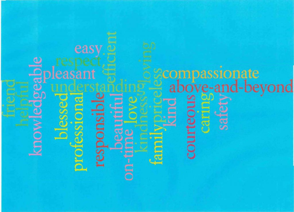 friend, helped, knowledgeable, blessed, easy, respect, pleasant, love, caring