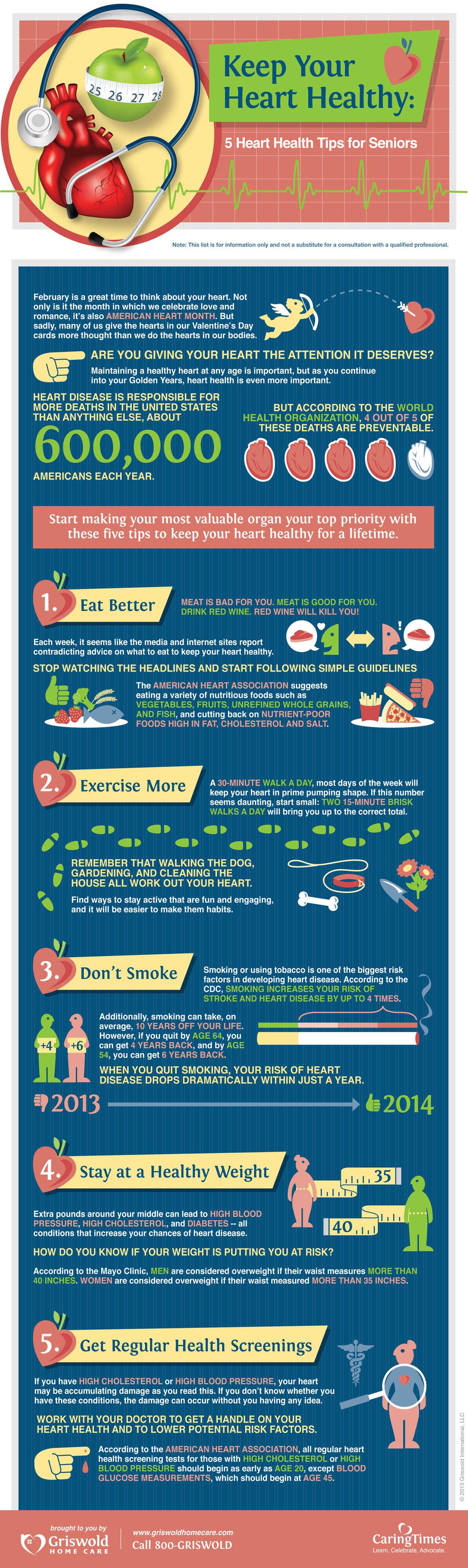 infographic five heart health tips for seniors
