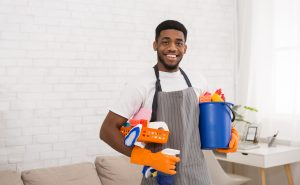 cleaner holding products in home