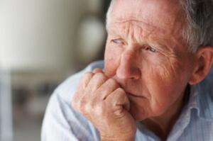 Sad elderly man