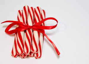 peppermint sticks wrapped in red bow
